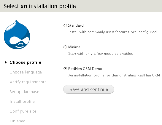 Selecting the demo profile