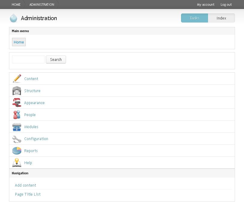 Administration page using Rubik