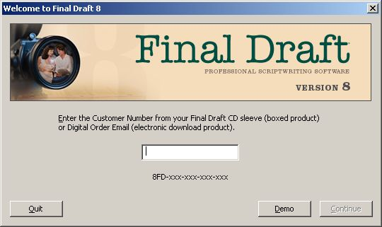 final draft customer number not working