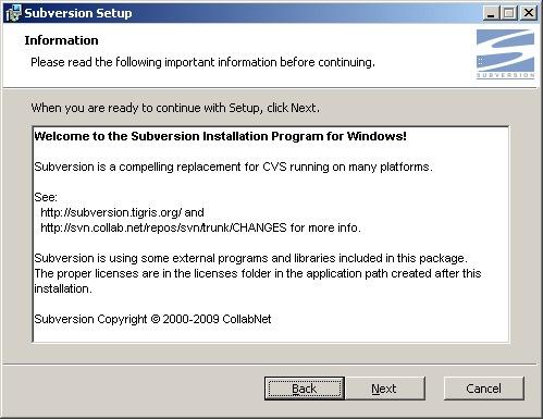 Subversion install information