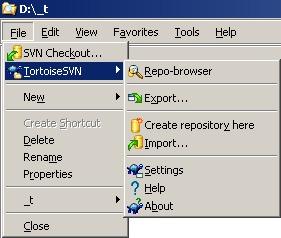 Windows Explorer folder File menu