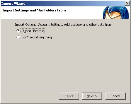 Import Outlook Express settings