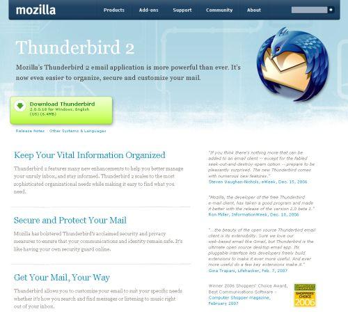 Thunderbird home page