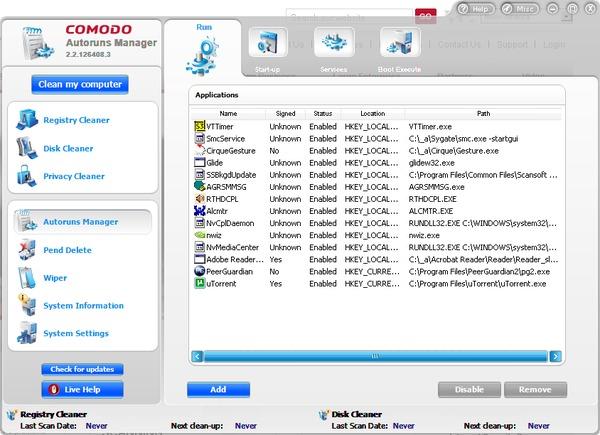 Comodo System Cleaner Autoruns Manager interface