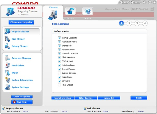 Comodo System Cleaner interface
