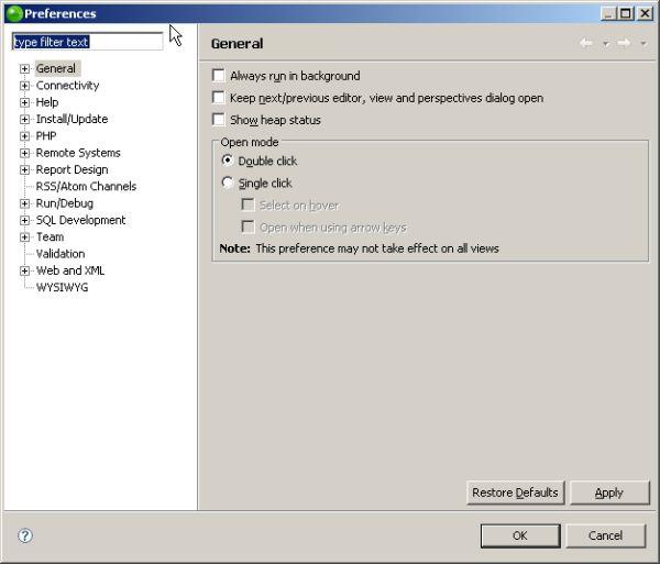 Zend Studio 6.0 - Preferences