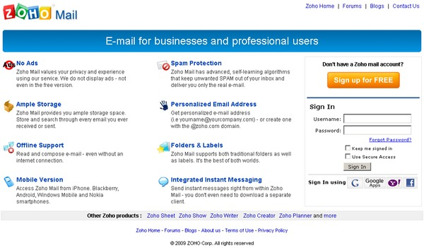 Zoho Mail login