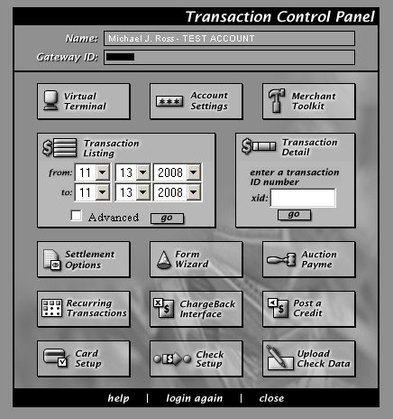 Transaction Control Panel