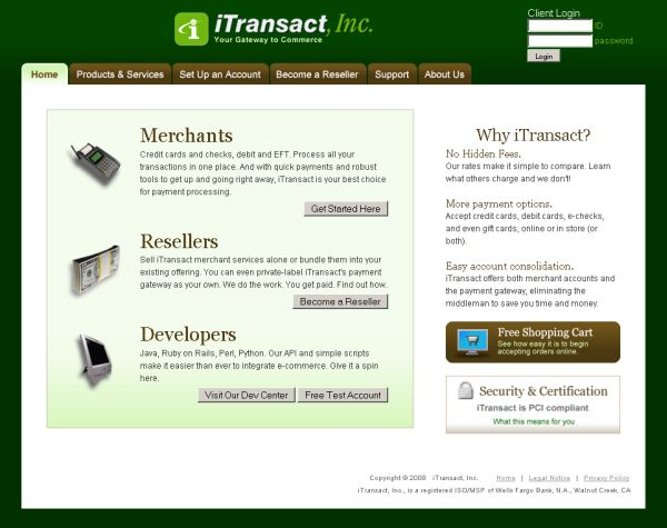 iTransact home page