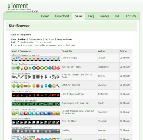 uTorrent site skins